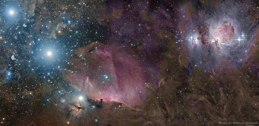 如图所示,明亮的恒星照亮了猎户星云(右上角)和马头星云(底部中心).