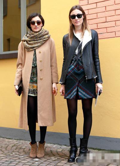 欧美街拍大衣+短靴时尚搭配七