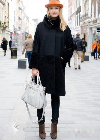 欧美街拍大衣+短靴时尚搭配八