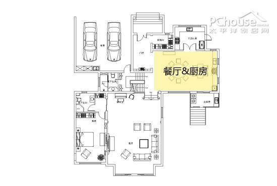餐厅&厨房平面图